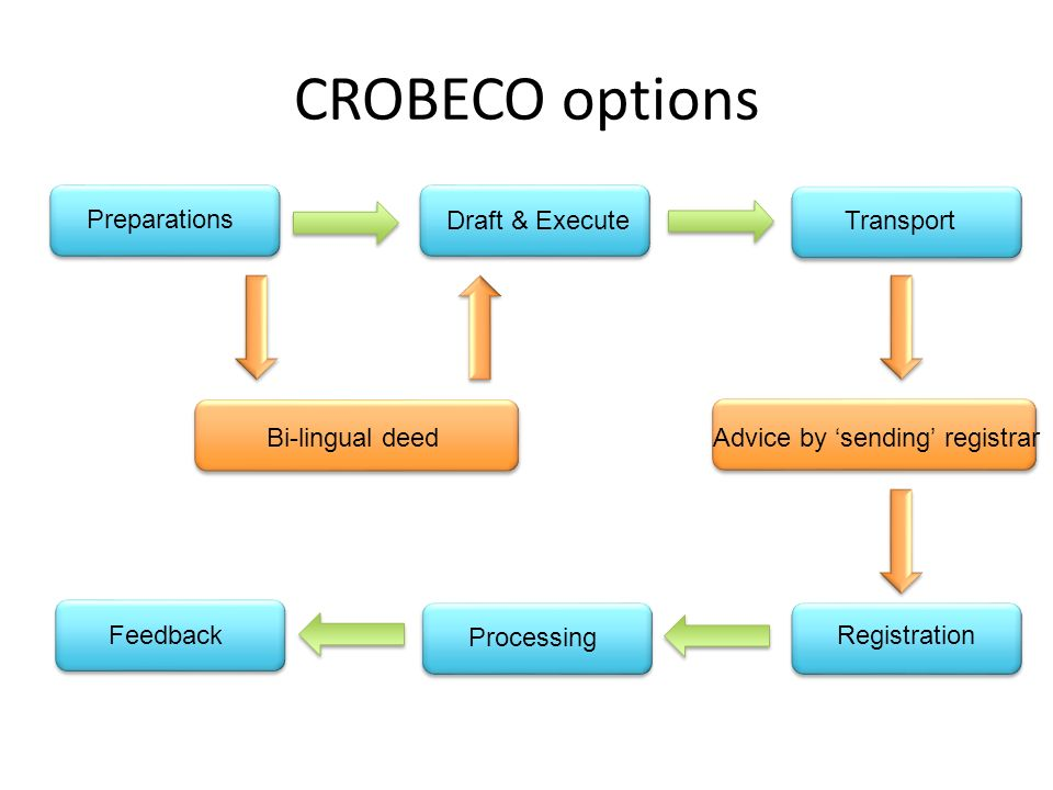 CROBECO options Preparations Draft & ExecuteTransport Processing Feedback Registration Advice by sending registrarBi-lingual deed