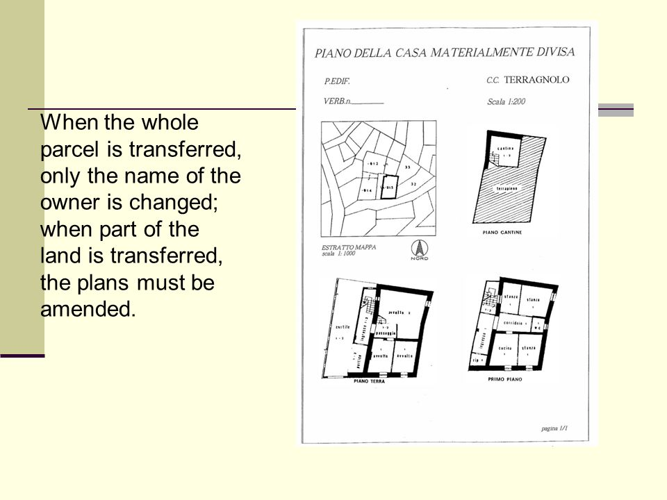 When the whole parcel is transferred, only the name of the owner is changed; when part of the land is transferred, the plans must be amended.