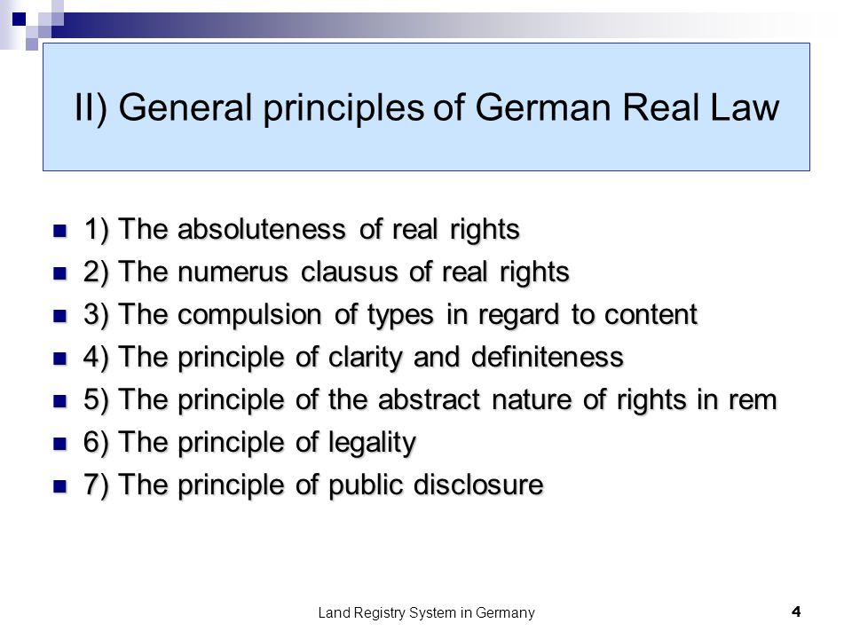 Land Registry System in Germany5 III) Legality checks in practice The Land Registry´s obligation of legality checks within the scope of the Principle of Formal consensus, Article 19 GBO The Land Registry´s obligation of legality checks within the scope of the Principle of Formal consensus, Article 19 GBO The Land Registry´s obligation to check within the scope of the Principle of Substantive consensus, Article 20 GBO The Land Registry´s obligation to check within the scope of the Principle of Substantive consensus, Article 20 GBO Procedural instruments in the event of obstruction, Article 18 GBO Procedural instruments in the event of obstruction, Article 18 GBO Procedural instruments in the event of incorrect entries, Article 53 GBO Procedural instruments in the event of incorrect entries, Article 53 GBO