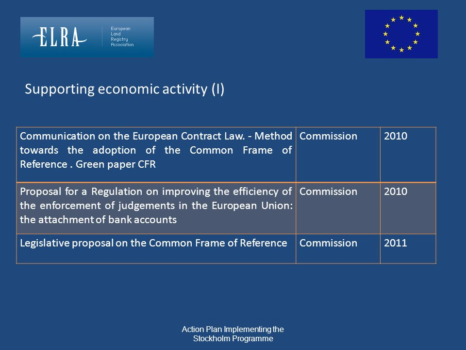Communication on the European Contract Law. - Method towards the adoption of the Common Frame of Reference. Green paper CFR Commission2010 Proposal fo