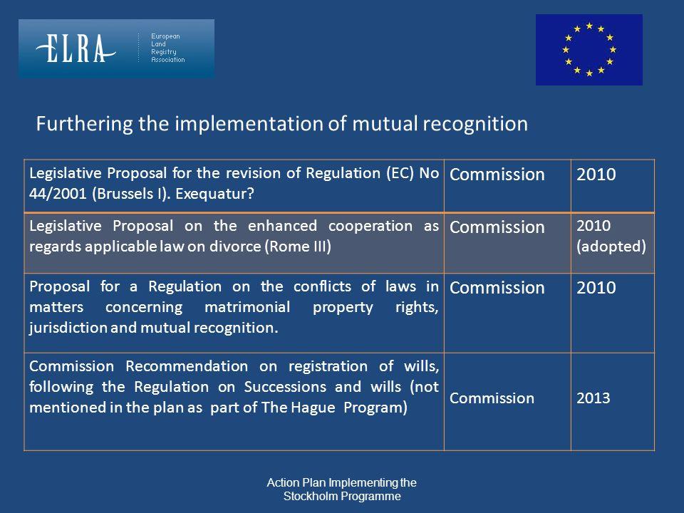 Legislative Proposal for the revision of Regulation (EC) No 44/2001 (Brussels I). Exequatur? Commission2010 Legislative Proposal on the enhanced coope