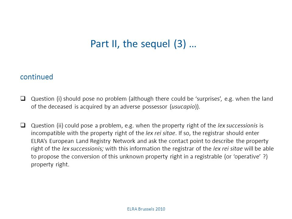 Part II, the sequel (4) … continued This proposal, i.e.