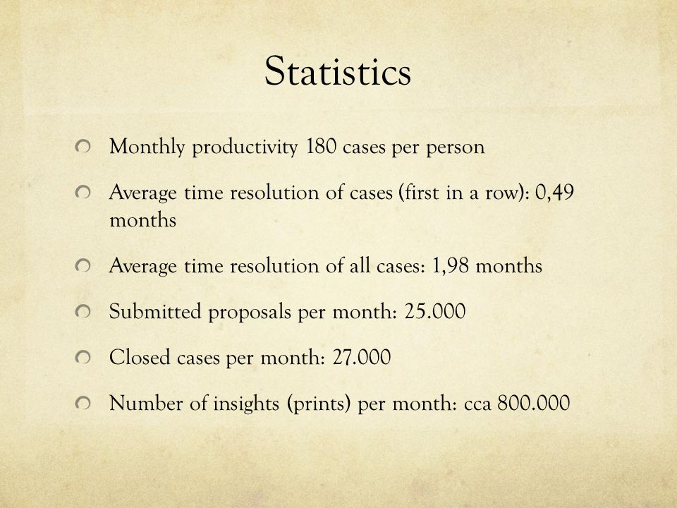 Statistics Monthly productivity 180 cases per person Average time resolution of cases (first in a row): 0,49 months Average time resolution of all cases: 1,98 months Submitted proposals per month: 25.000 Closed cases per month: 27.000 Number of insights (prints) per month: cca 800.000