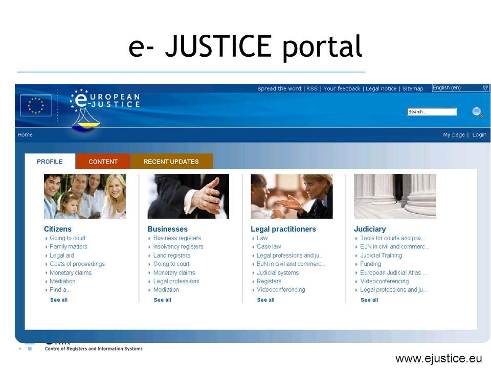 e- JUSTICE portal www.ejustice.eu