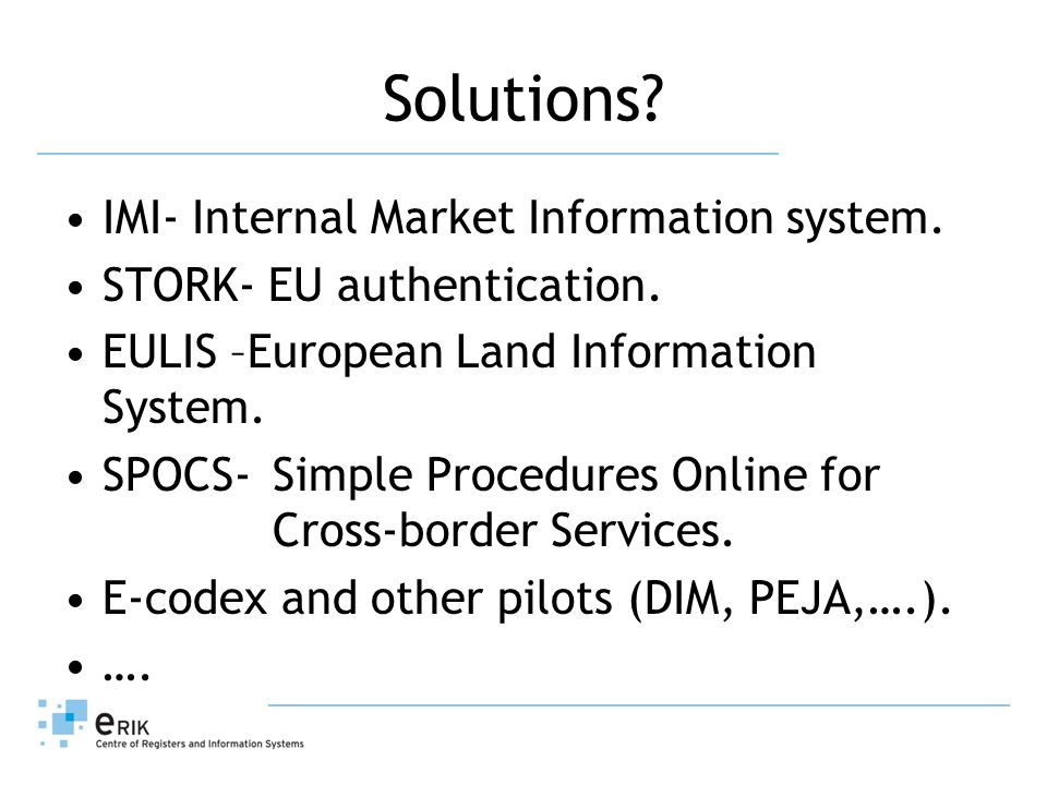 Solutions. IMI- Internal Market Information system.