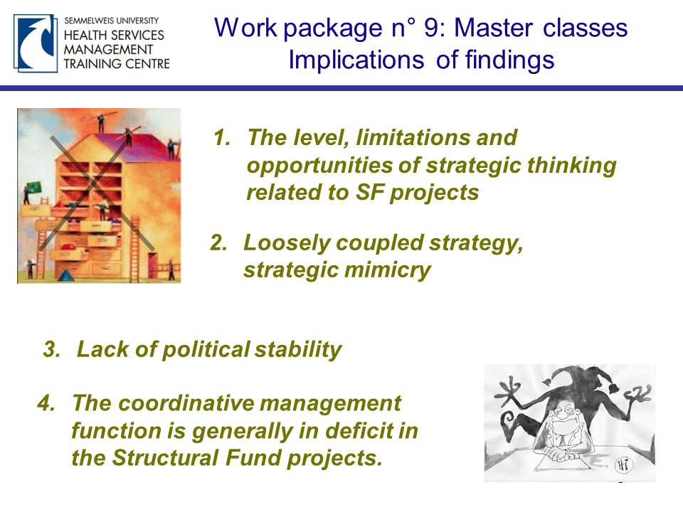 Work package n° 9: Master classes Implications of findings 1.The level, limitations and opportunities of strategic thinking related to SF projects 2.L