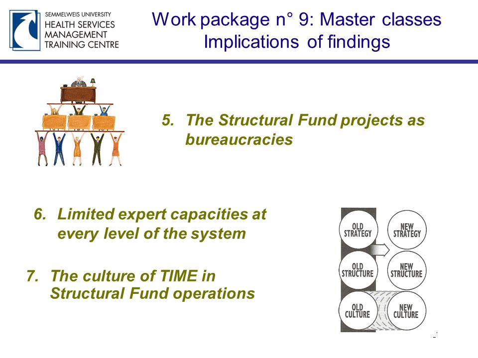 Work package n° 9: Master classes Implications of findings 5.The Structural Fund projects as bureaucracies 6.Limited expert capacities at every level