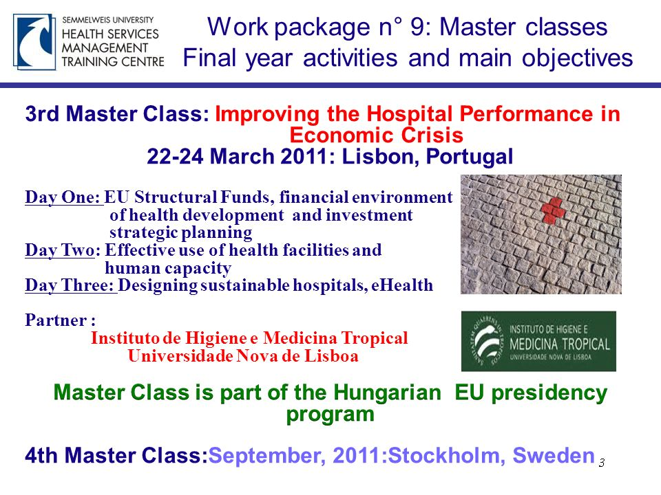 Work package n° 9: Master classes Final year activities and main objectives