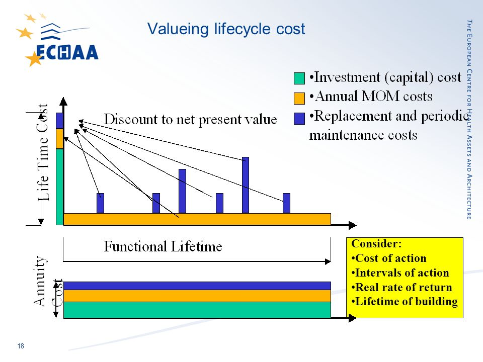 18 Consider: Cost of action Intervals of action Real rate of return Lifetime of building Valueing lifecycle cost