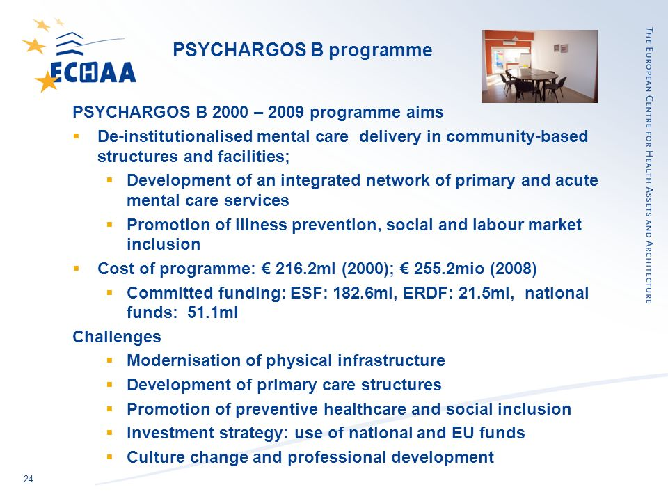 24 PSYCHARGOS B programme PSYCHARGOS B 2000 – 2009 programme aims De-institutionalised mental care delivery in community-based structures and faciliti