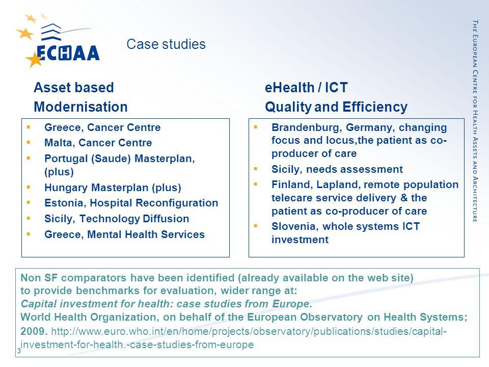 3 Case studies Asset based Modernisation Greece, Cancer Centre Malta, Cancer Centre Portugal (Saude) Masterplan, (plus) Hungary Masterplan (plus) Esto