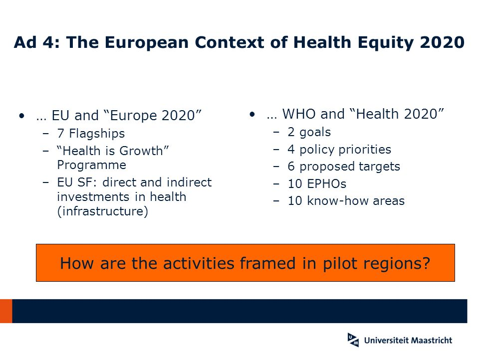 Ad 4: The European Context of Health Equity 2020 … EU and Europe 2020 –7 Flagships –Health is Growth Programme –EU SF: direct and indirect investments