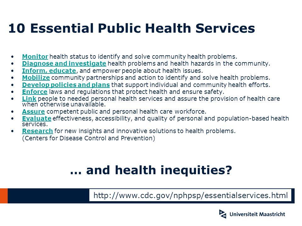 10 Essential Public Health Services Monitor health status to identify and solve community health problems.Monitor Diagnose and investigate health prob