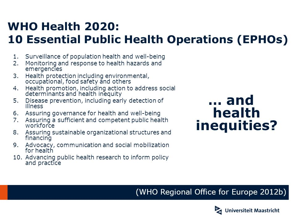 WHO Health 2020: 10 Essential Public Health Operations (EPHOs) 1.Surveillance of population health and well-being 2.Monitoring and response to health