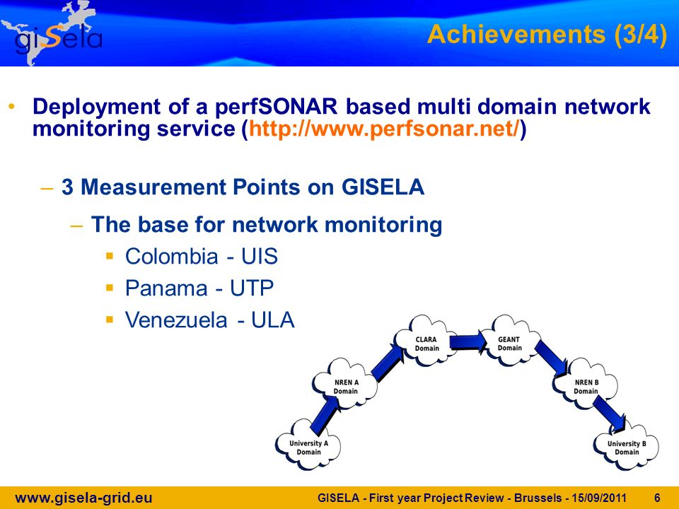 www.gisela-grid.eu GISELA - First year Project Review - Brussels - 15/09/2011 6 Deployment of a perfSONAR based multi domain network monitoring service (http://www.perfsonar.net/) –3 Measurement Points on GISELA –The base for network monitoring Colombia - UIS Panama - UTP Venezuela - ULA Achievements (3/4)