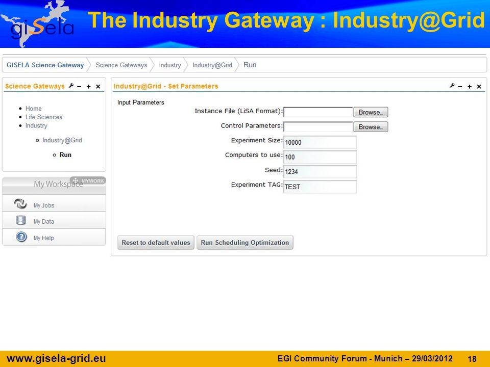 www.gisela-grid.eu 18 The Industry Gateway : Industry@Grid EGI Community Forum - Munich – 29/03/2012