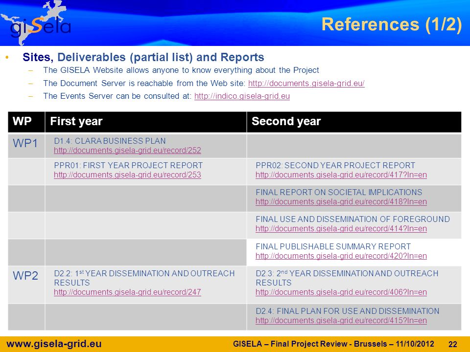 www.gisela-grid.eu GISELA – Final Project Review - Brussels – 11/10/2012 22 References (1/2) Sites, Deliverables (partial list) and Reports –The GISELA Website allows anyone to know everything about the Project –The Document Server is reachable from the Web site: http://documents.gisela-grid.eu/http://documents.gisela-grid.eu/ –The Events Server can be consulted at: http://indico.gisela-grid.euhttp://indico.gisela-grid.eu WPFirst yearSecond year WP1 D1.4: CLARA BUSINESS PLAN http://documents.gisela-grid.eu/record/252 PPR01: FIRST YEAR PROJECT REPORT http://documents.gisela-grid.eu/record/253 PPR02: SECOND YEAR PROJECT REPORT http://documents.gisela-grid.eu/record/417 ln=en FINAL REPORT ON SOCIETAL IMPLICATIONS http://documents.gisela-grid.eu/record/418 ln=en FINAL USE AND DISSEMINATION OF FOREGROUND http://documents.gisela-grid.eu/record/414 ln=en FINAL PUBLISHABLE SUMMARY REPORT http://documents.gisela-grid.eu/record/420 ln=en WP2 D2.2: 1 st YEAR DISSEMINATION AND OUTREACH RESULTS http://documents.gisela-grid.eu/record/247 D2.3: 2 nd YEAR DISSEMINATION AND OUTREACH RESULTS http://documents.gisela-grid.eu/record/406 ln=en D2.4: FINAL PLAN FOR USE AND DISSEMINATION http://documents.gisela-grid.eu/record/415 ln=en