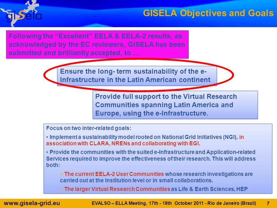 www.gisela-grid.eu 18 DIRAC as a complete VRC solution DIRAC is a complete VRC Grid solution Already used by several large VRCs: –HEP (LHCb, Belle, ILC, Magic) –BIOMED(VIP) Development coordinated by CPPM (Marseille), a GISELA Partner Fully supported within WP6 EVALSO – ELLA Meeting, 17th - 18th October 2011 - Rio de Janeiro (Brazil) 18