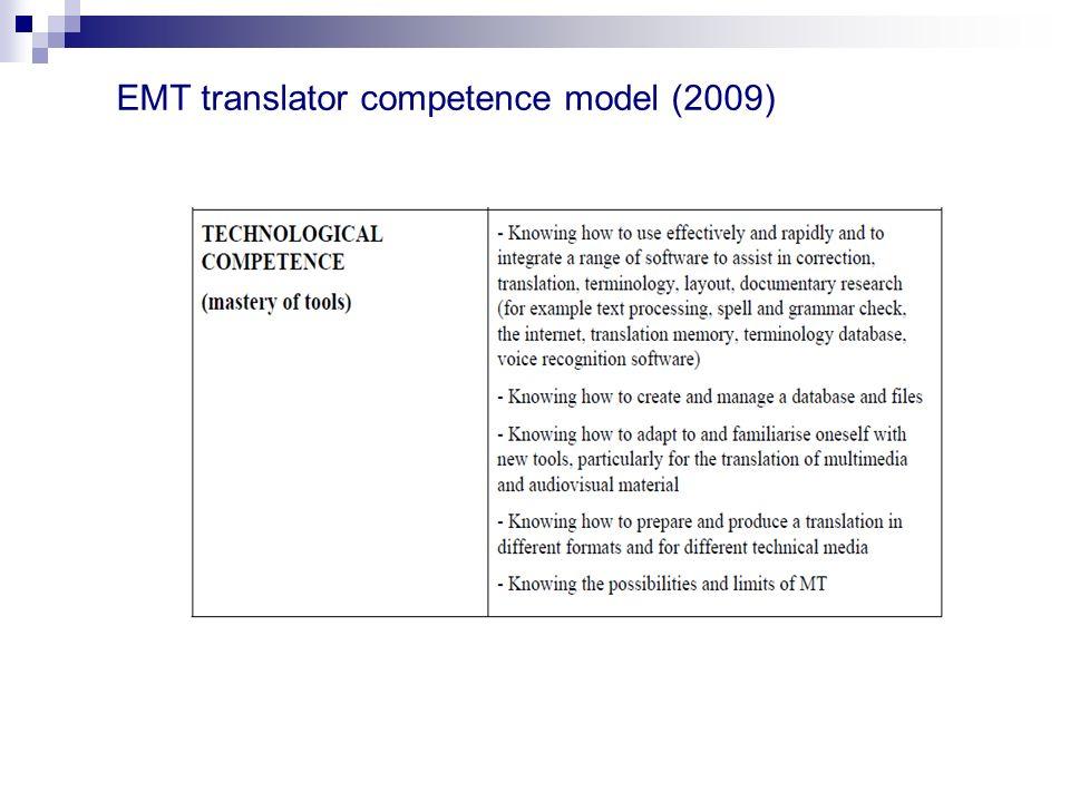 EMT translator competence model (2009)