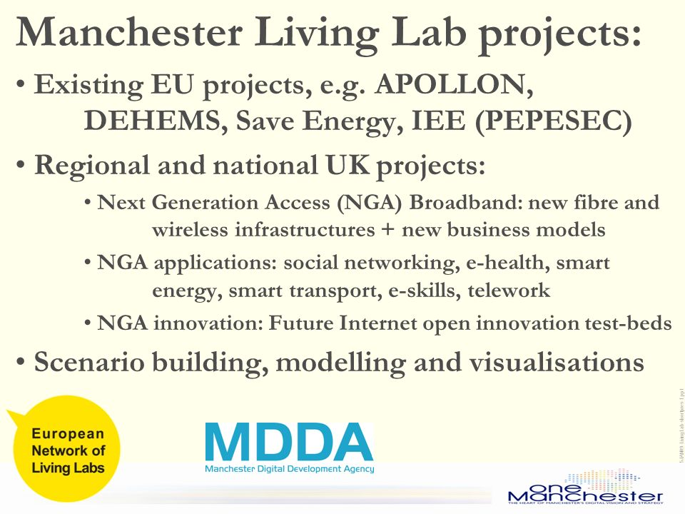 Living Labs Community Networking and CIP/FP7 proposals development January 15 th, 2009 Brussels 15JAN09-LivingLab-shortpres-1.ppt Manchester Living Lab projects: Existing EU projects, e.g.