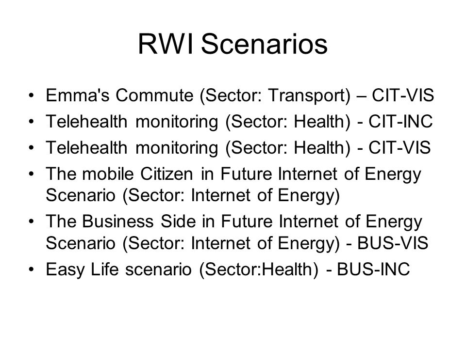 RWI Scenarios Emma s Commute (Sector: Transport) – CIT-VIS Telehealth monitoring (Sector: Health) - CIT-INC Telehealth monitoring (Sector: Health) - CIT-VIS The mobile Citizen in Future Internet of Energy Scenario (Sector: Internet of Energy) The Business Side in Future Internet of Energy Scenario (Sector: Internet of Energy) - BUS-VIS Easy Life scenario (Sector:Health) - BUS-INC