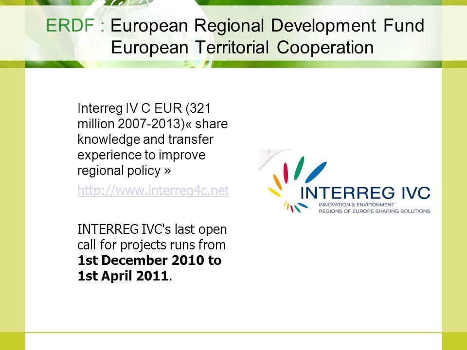ERDF : European Regional Development Fund European Territorial Cooperation Interreg IV C EUR (321 million 2007-2013)« share knowledge and transfer exp