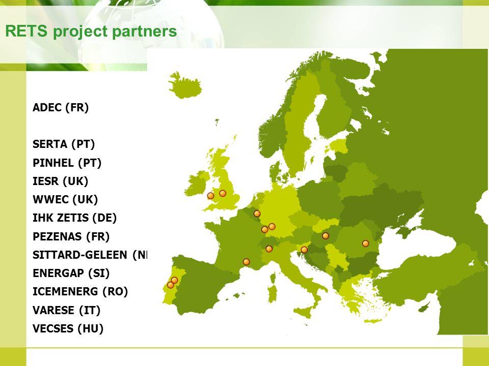 RETS project partners ADEC (FR) SERTA (PT) PINHEL (PT) IESR (UK) WWEC (UK) IHK ZETIS (DE) PEZENAS (FR) SITTARD-GELEEN (NL) ENERGAP (SI) ICEMENERG (RO)