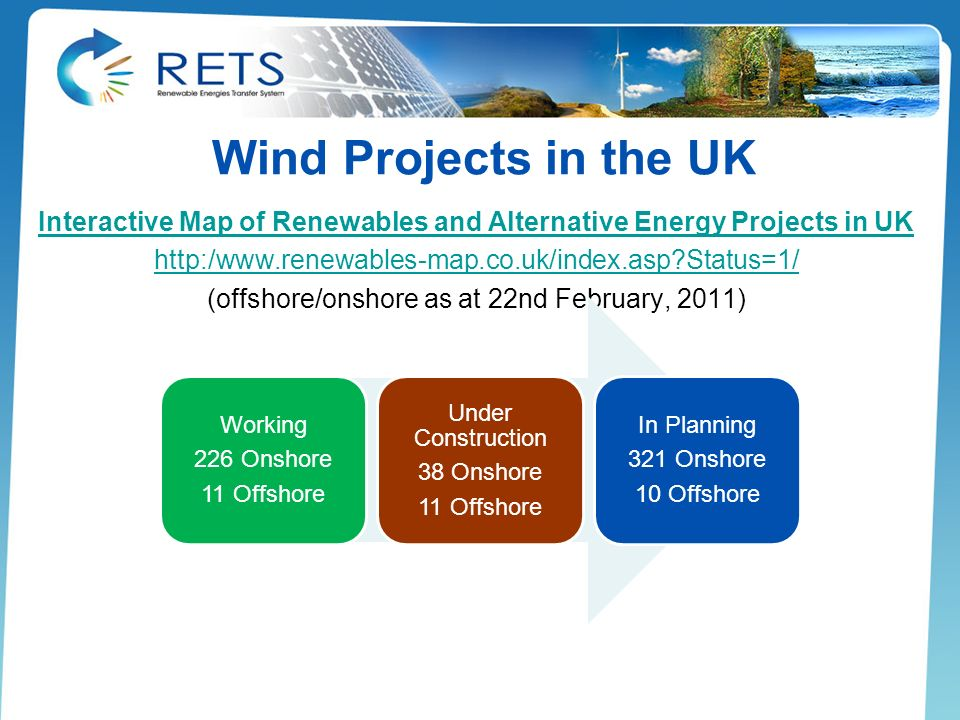Wind Projects in the UK Interactive Map of Renewables and Alternative Energy Projects in UK http:/www.renewables-map.co.uk/index.asp?Status=1/ (offsho