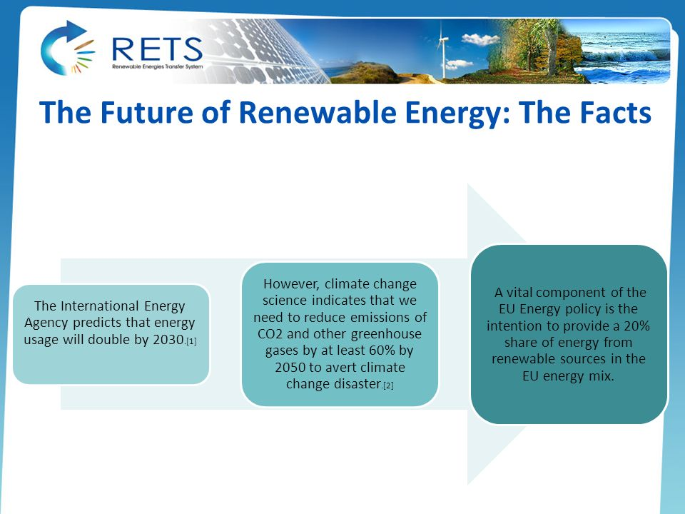 The Future of Renewable Energy: The Facts The International Energy Agency predicts that energy usage will double by 2030.[1] However, climate change s