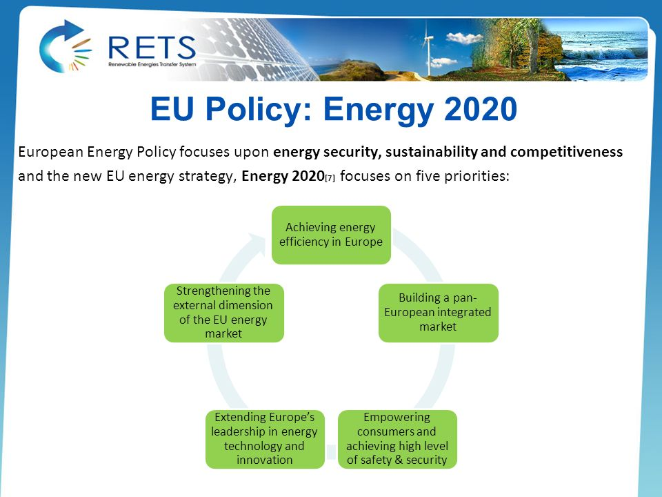 EU Policy: Energy 2020 European Energy Policy focuses upon energy security, sustainability and competitiveness and the new EU energy strategy, Energy