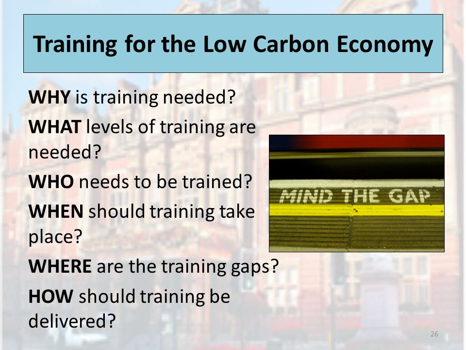 Training for the Low Carbon Economy WHY is training needed? WHAT levels of training are needed? WHO needs to be trained? WHEN should training take pla