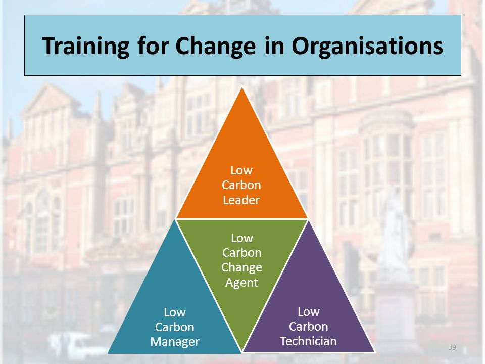 Training for Change in Organisations 39 Low Carbon Leader Low Carbon Manager Low Carbon Change Agent Low Carbon Technician