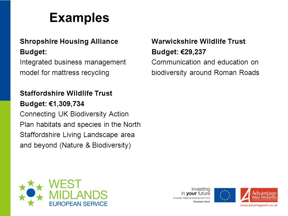 Examples Shropshire Housing Alliance Budget: Integrated business management model for mattress recycling Staffordshire Wildlife Trust Budget: 1,309,734 Connecting UK Biodiversity Action Plan habitats and species in the North Staffordshire Living Landscape area and beyond (Nature & Biodiversity) Warwickshire Wildlife Trust Budget: 29,237 Communication and education on biodiversity around Roman Roads
