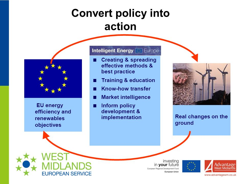 Convert policy into action Real changes on the ground EU energy efficiency and renewables objectives Creating & spreading effective methods & best practice Training & education Know-how transfer Market intelligence Inform policy development & implementation