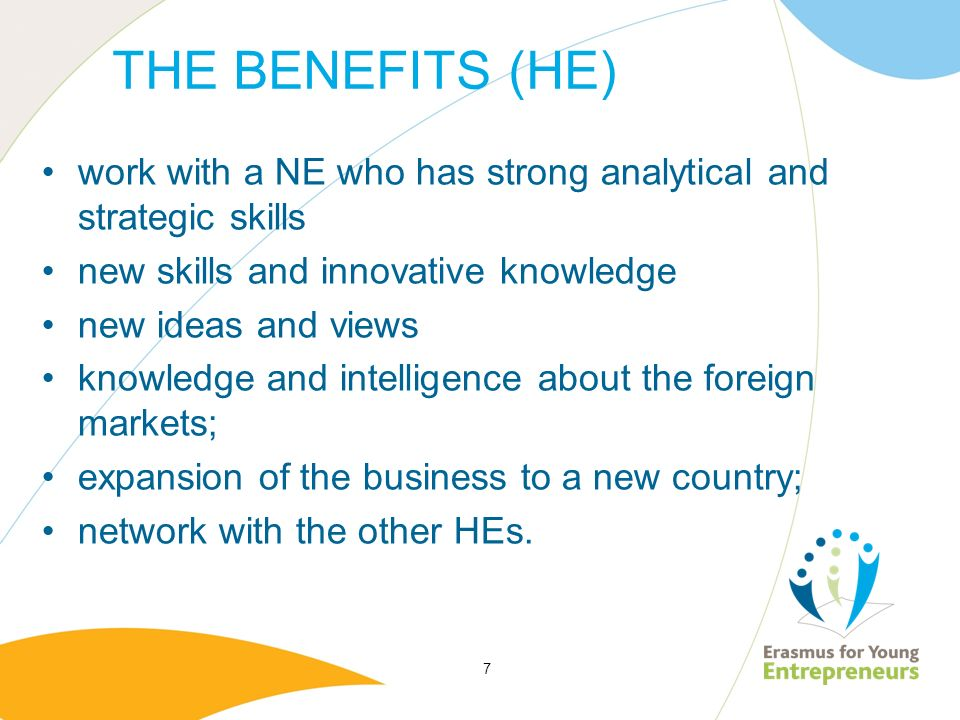 THE BENEFITS (HE) work with a NE who has strong analytical and strategic skills new skills and innovative knowledge new ideas and views knowledge and intelligence about the foreign markets; expansion of the business to a new country; network with the other HEs.