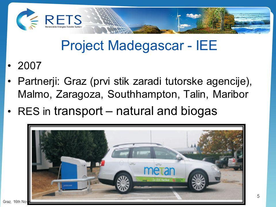 Project Madegascar - IEE 2007 Partnerji: Graz (prvi stik zaradi tutorske agencije), Malmo, Zaragoza, Southhampton, Talin, Maribor RES in transport – n