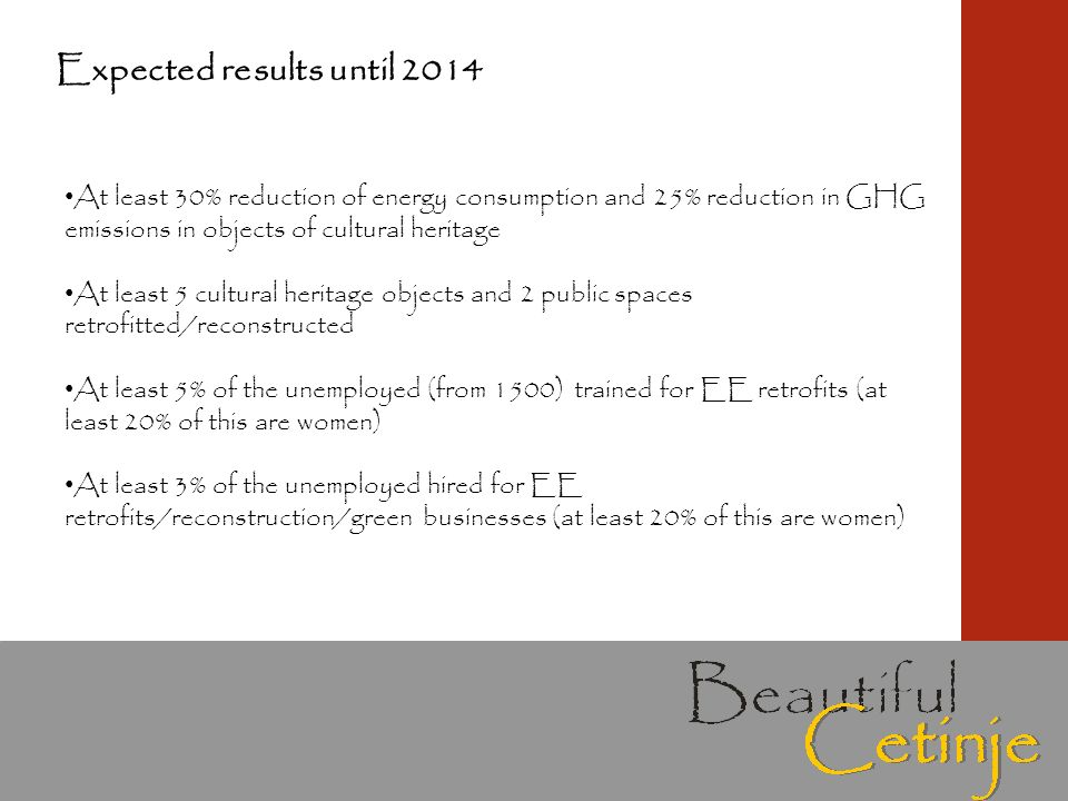 Expected results until 2014 At least 30% reduction of energy consumption and 25% reduction in GHG emissions in objects of cultural heritage At least 5