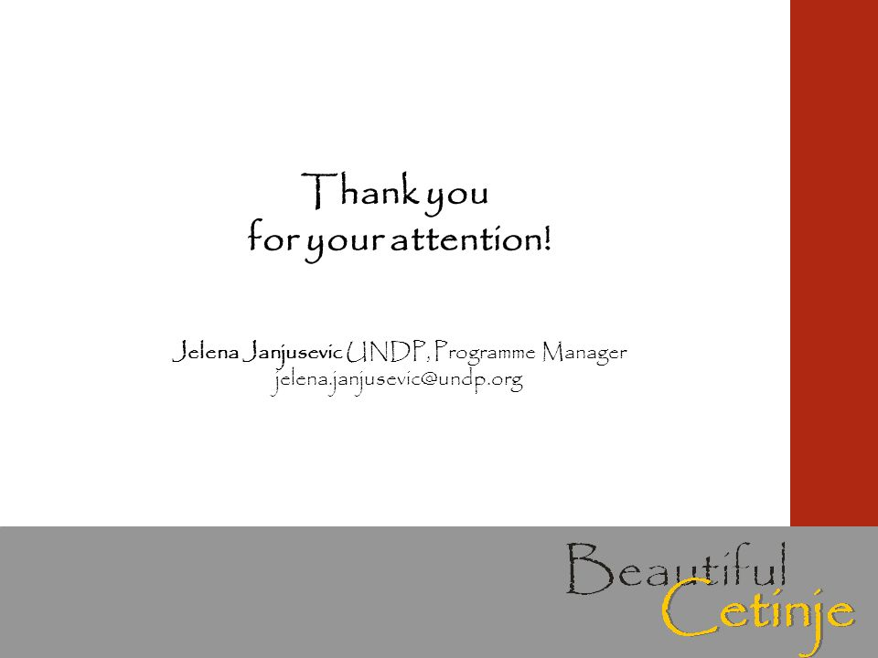 Thank you for your attention! Jelena Janjusevic UNDP, Programme Manager jelena.janjusevic@undp.org