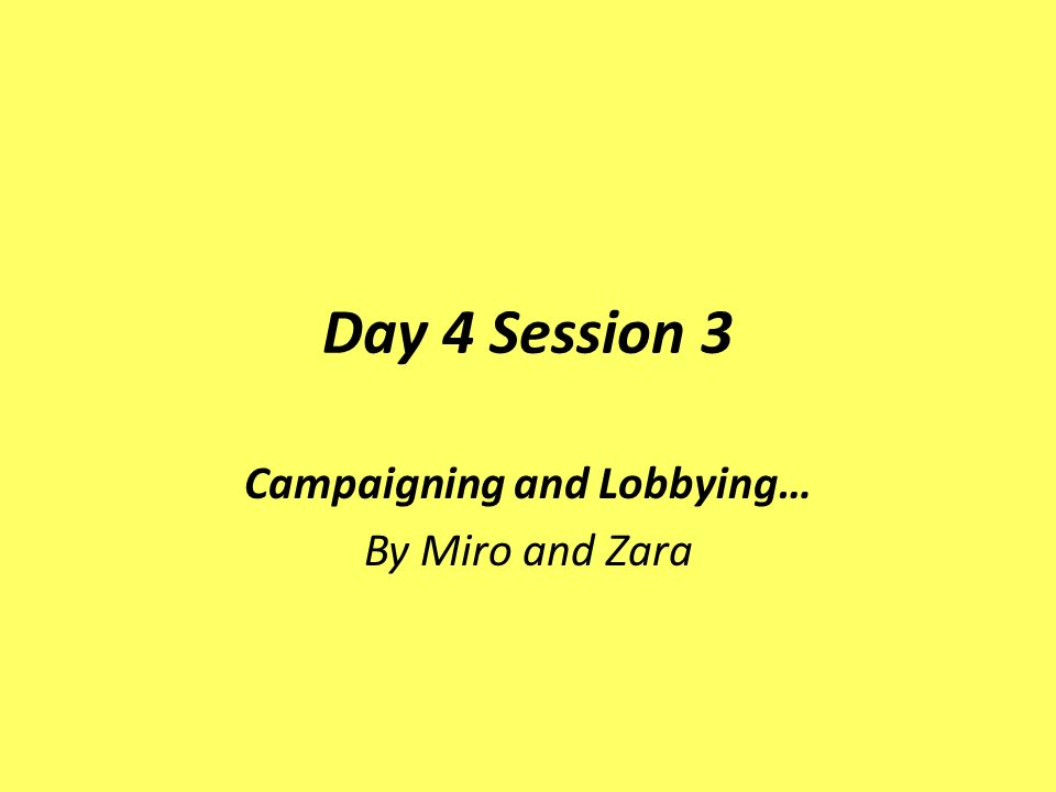 Day 4 Session 3 Campaigning and Lobbying… By Miro and Zara
