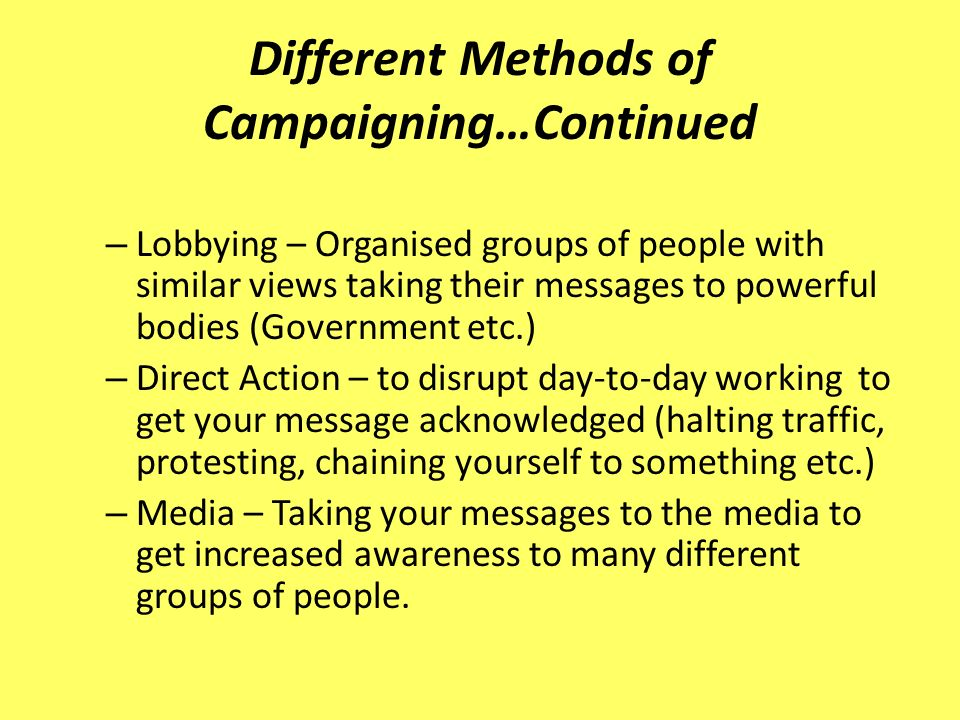 – Lobbying – Organised groups of people with similar views taking their messages to powerful bodies (Government etc.) – Direct Action – to disrupt day