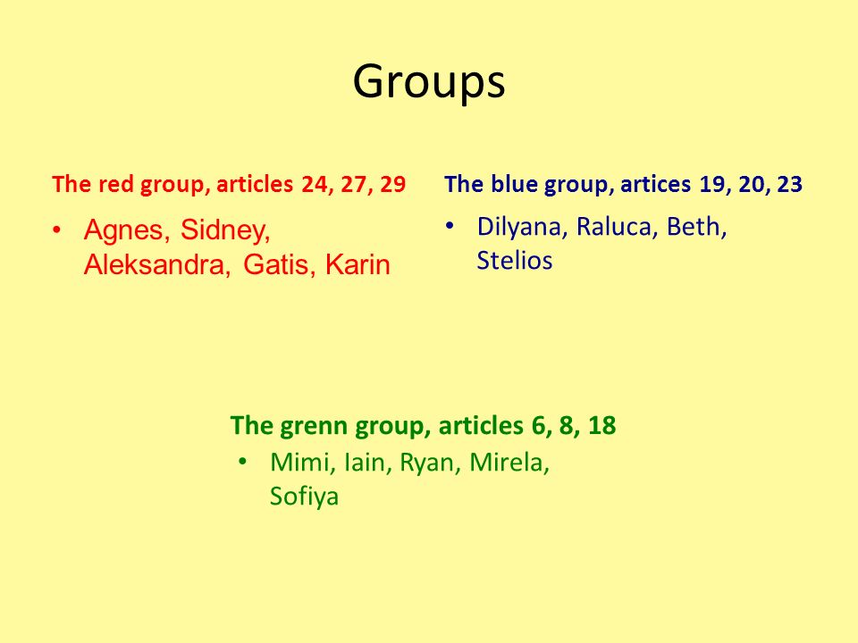 Groups The red group, articles 24, 27, 29 Agnes, Sidney, Aleksandra, Gatis, Karin The blue group, artices 19, 20, 23 Dilyana, Raluca, Beth, Stelios Th