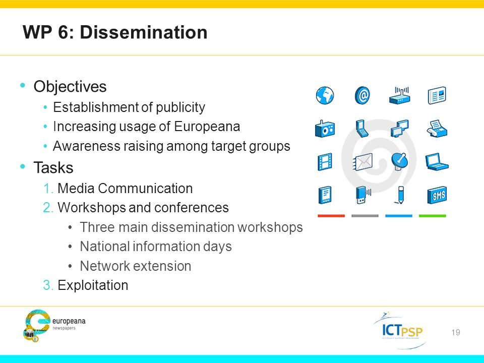 19 WP 6: Dissemination Objectives Establishment of publicity Increasing usage of Europeana Awareness raising among target groups Tasks 1.