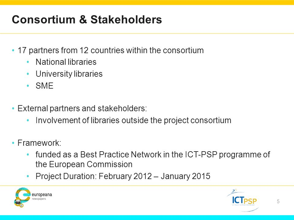 5 Consortium & Stakeholders 17 partners from 12 countries within the consortium National libraries University libraries SME External partners and stakeholders: Involvement of libraries outside the project consortium Framework: funded as a Best Practice Network in the ICT-PSP programme of the European Commission Project Duration: February 2012 – January 2015