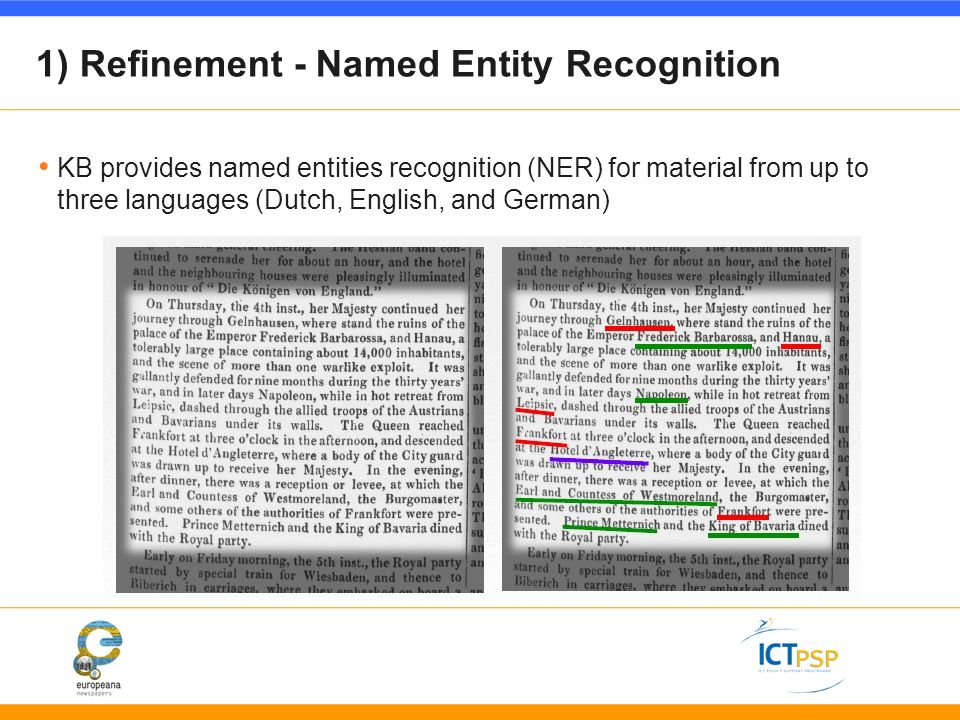 1) Refinement - Named Entity Recognition KB provides named entities recognition (NER) for material from up to three languages (Dutch, English, and German)