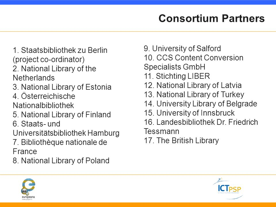 Consortium Partners 9. University of Salford 10. CCS Content Conversion Specialists GmbH 11.