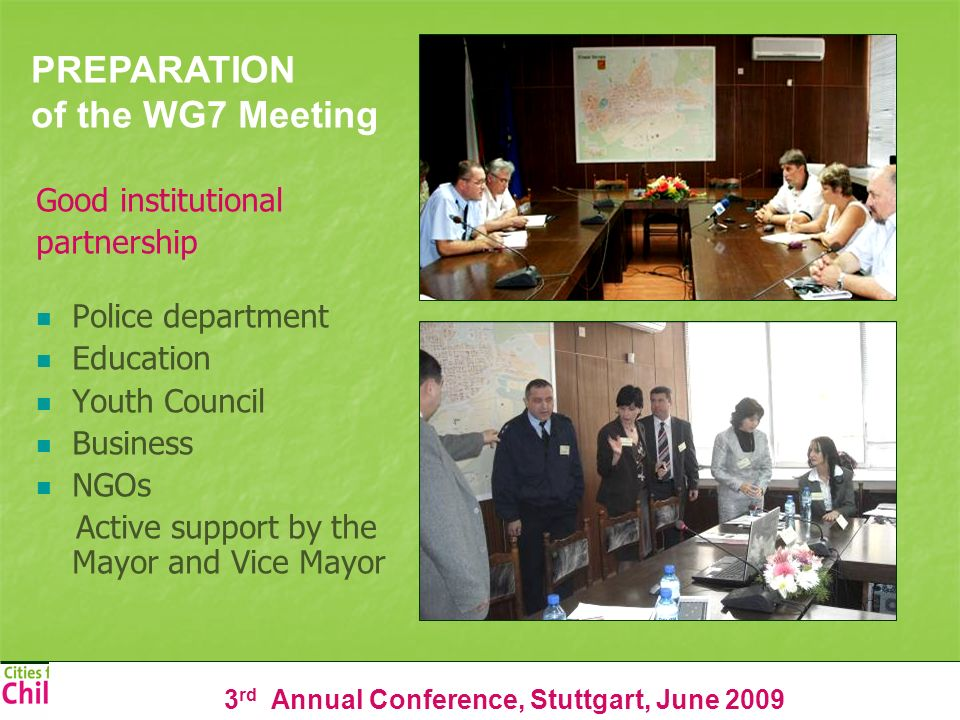 3 rd Annual Conference, Stuttgart, June 2009 Good institutional partnership Police department Education Youth Council Business NGOs Active support by the Mayor and Vice Mayor PREPARATION of the WG7 Meeting