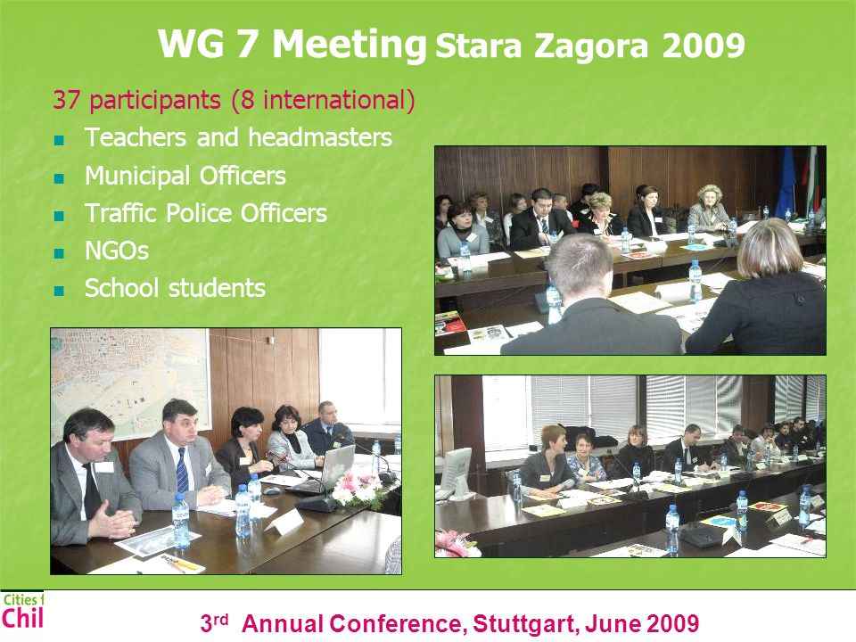 3 rd Annual Conference, Stuttgart, June 2009 WG 7 Meeting Stara Zagora 2009 37 participants (8 international) Teachers and headmasters Municipal Offic