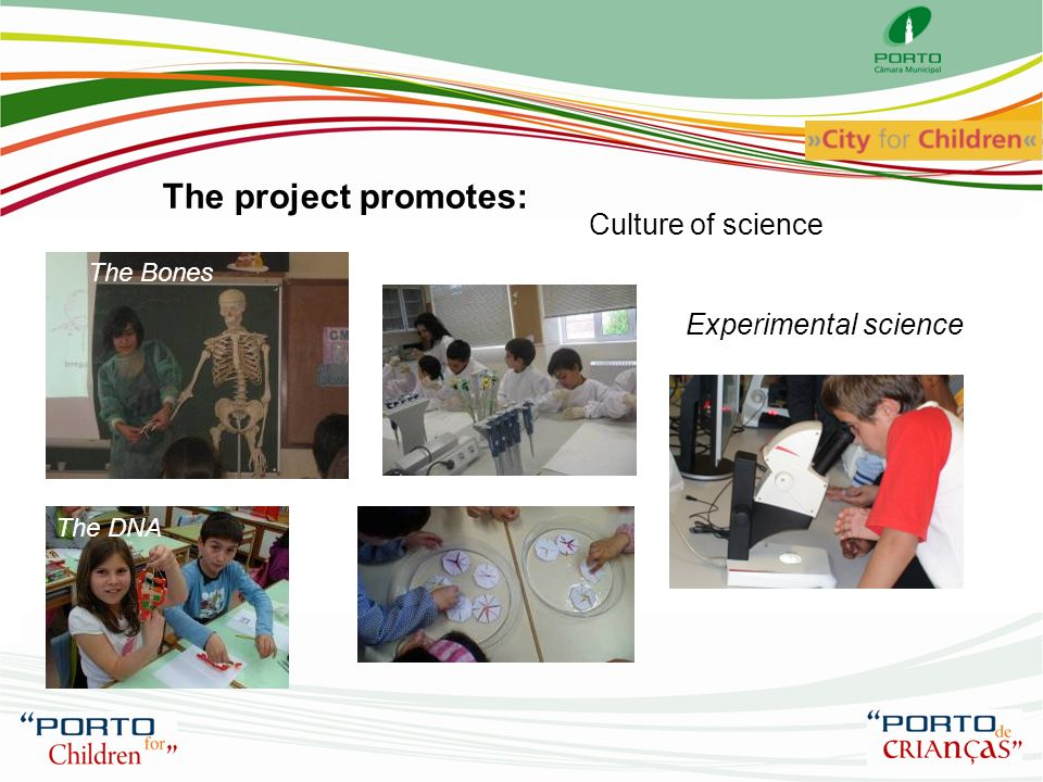 The project promotes: Culture of science Experimental science The Bones The DNA