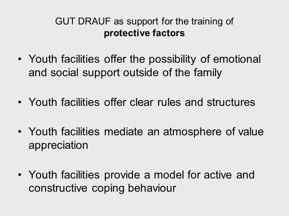 GUT DRAUF as support for the training of protective factors Youth facilities offer the possibility of emotional and social support outside of the family Youth facilities offer clear rules and structures Youth facilities mediate an atmosphere of value appreciation Youth facilities provide a model for active and constructive coping behaviour
