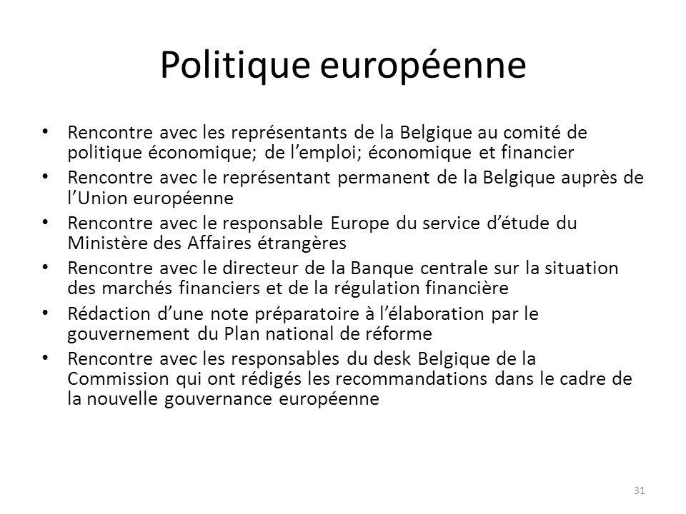 Politique européenne Rencontre avec les représentants de la Belgique au comité de politique économique; de lemploi; économique et financier Rencontre